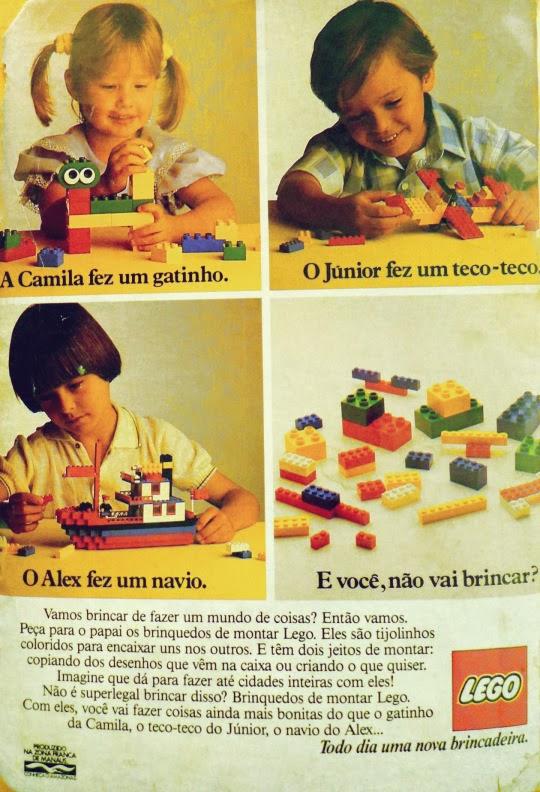 Propaganda antiga da Lego, em 1986. Brinquedo de sucesso em todo o mundo.