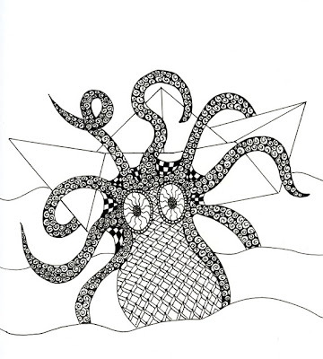 ink drawing of an octopus attacking a paper boat