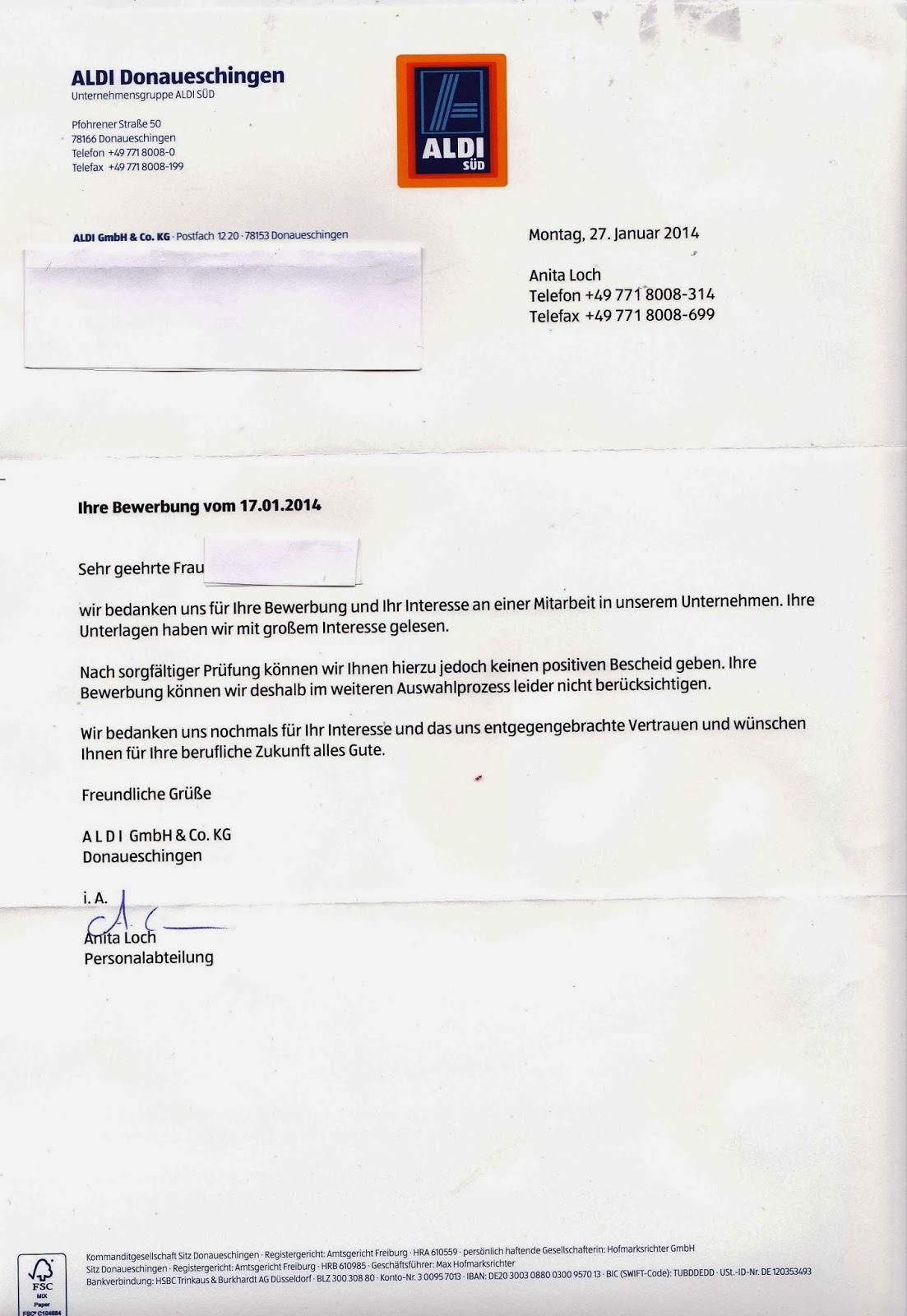 bewerbung niederlassungsleiter berufseinsteiger bewerbungsabsage - Aldi Bewerbung