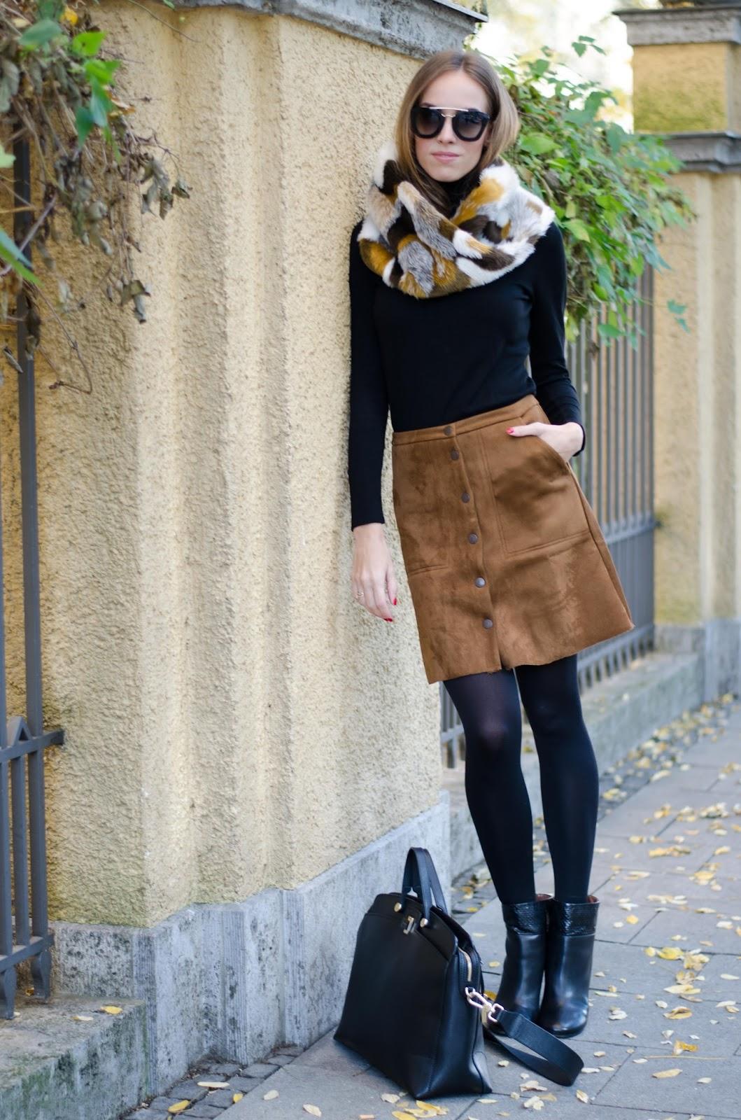 kristjaana mere prada sunglasses faux fur collar black pullover suede skirt fall outfit