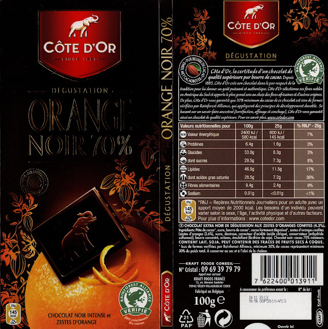 tablette de chocolat noir gourmand côte d'or orange noir 70
