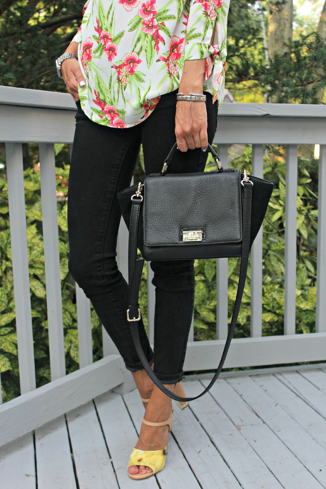 kate spade black leather and suede bag