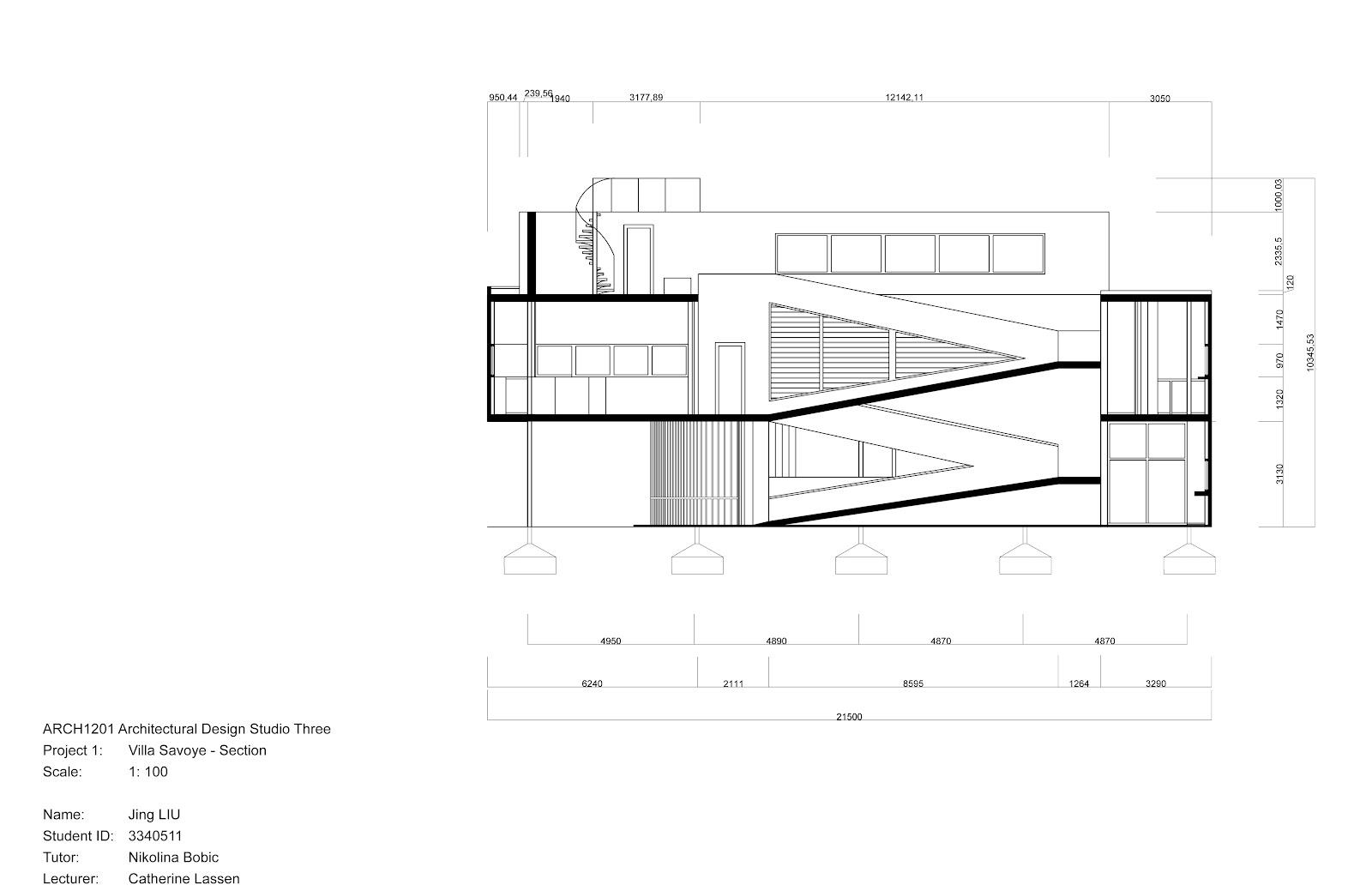 Villa Savoye Elevation Project one - drawingsVilla Savoye Section