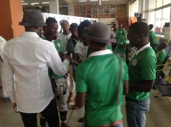 2face Idibia and U-23 players hangout in Gambia