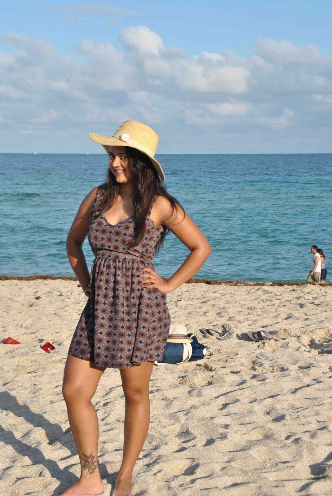 Beach dresses, indian girl in beach dress, ananya kiran, ananya in Miami, open back dresses, summer dresses, girl wearing a hat