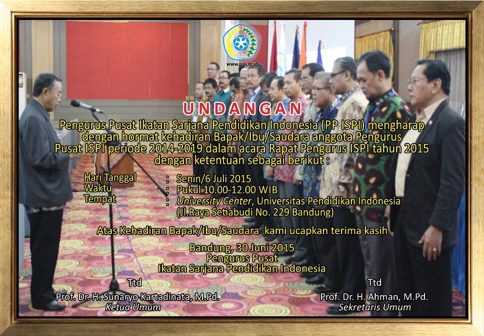 Undangan Rapat Pengurus Pusat ISPI 2015