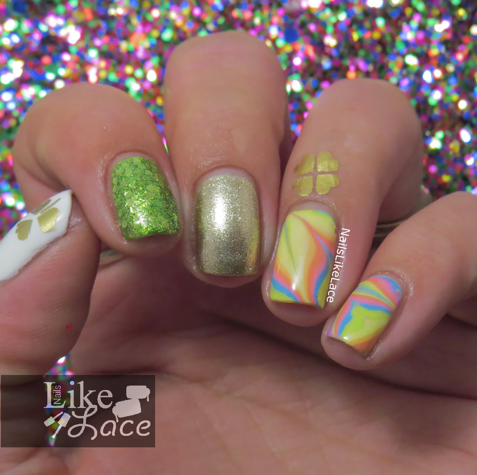NailsLikeLace: St. Patrick\'s Day - Bleached Neon Rainbow Water ...
