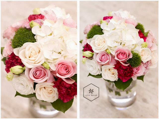 cream and pink rose and hydrangea bridal bouquet by Lily Sarah