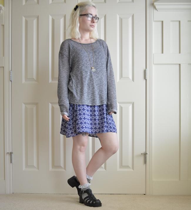 patterned blue dress frilly cute grey socks
