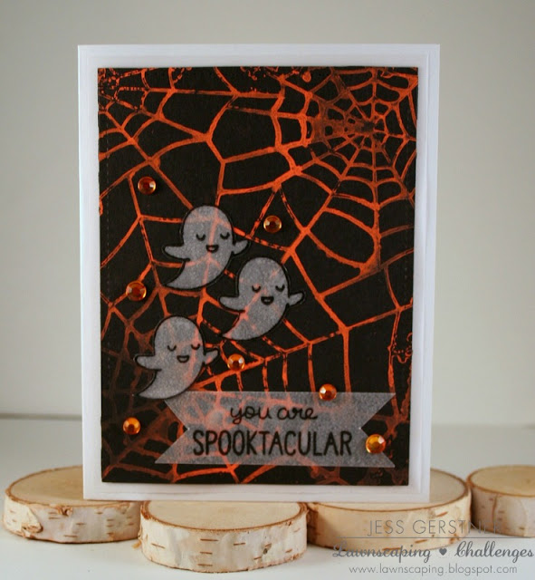 Lawn Fawn Spooktacular Halloween Card by Jess Crafts using Vellum and Chalkola Markers