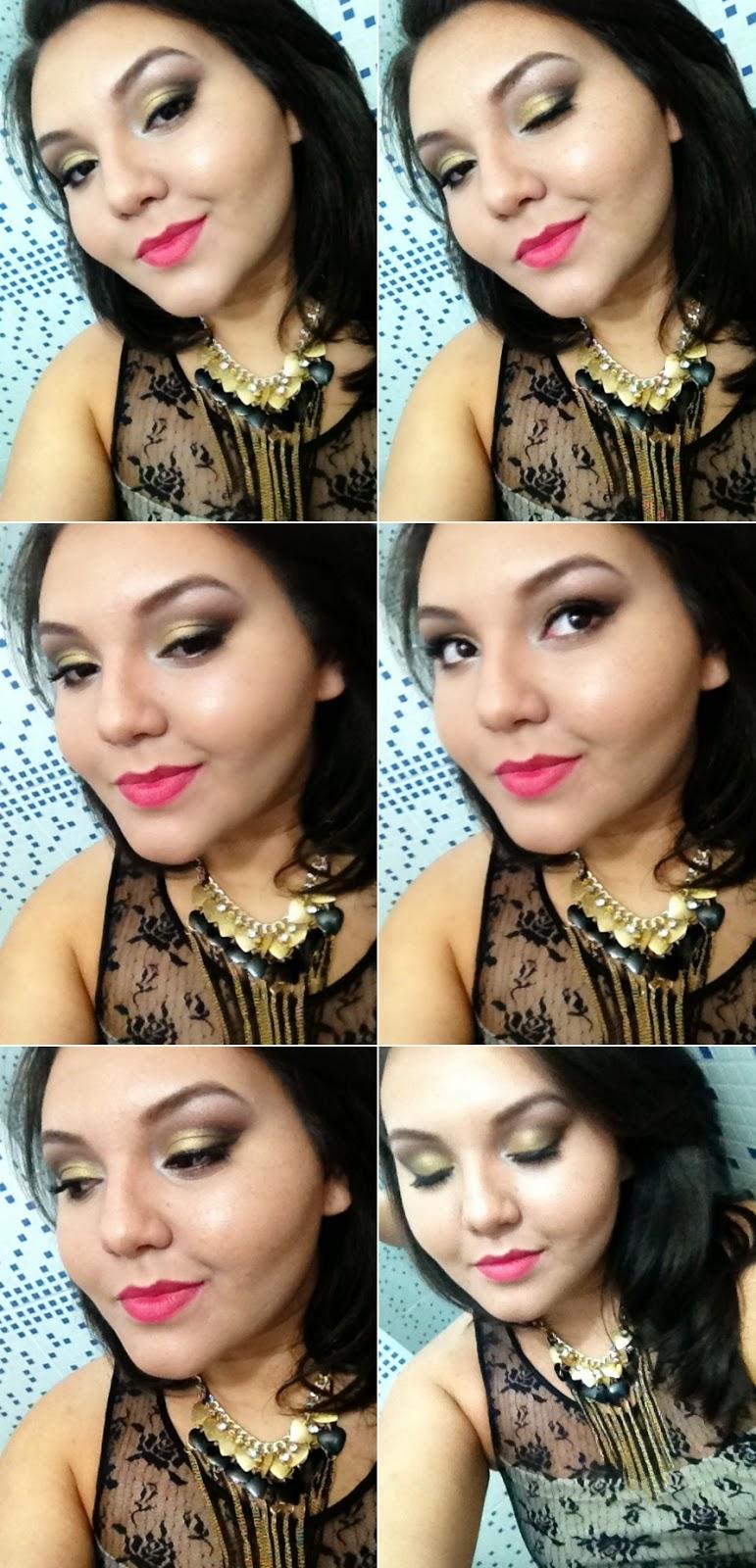 Maquiagem para o Natal, makeup para o natal com batom vermelho e olho dourado