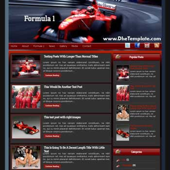Formula 1 blogger template. blogger template for automotive blog