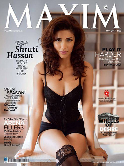 Maxim magazine got its prominence for photo shoots of famous actresses and here is the turn of Shruti hassan. Her makeup is minimal and she has tried to give a natural look to all her poses.