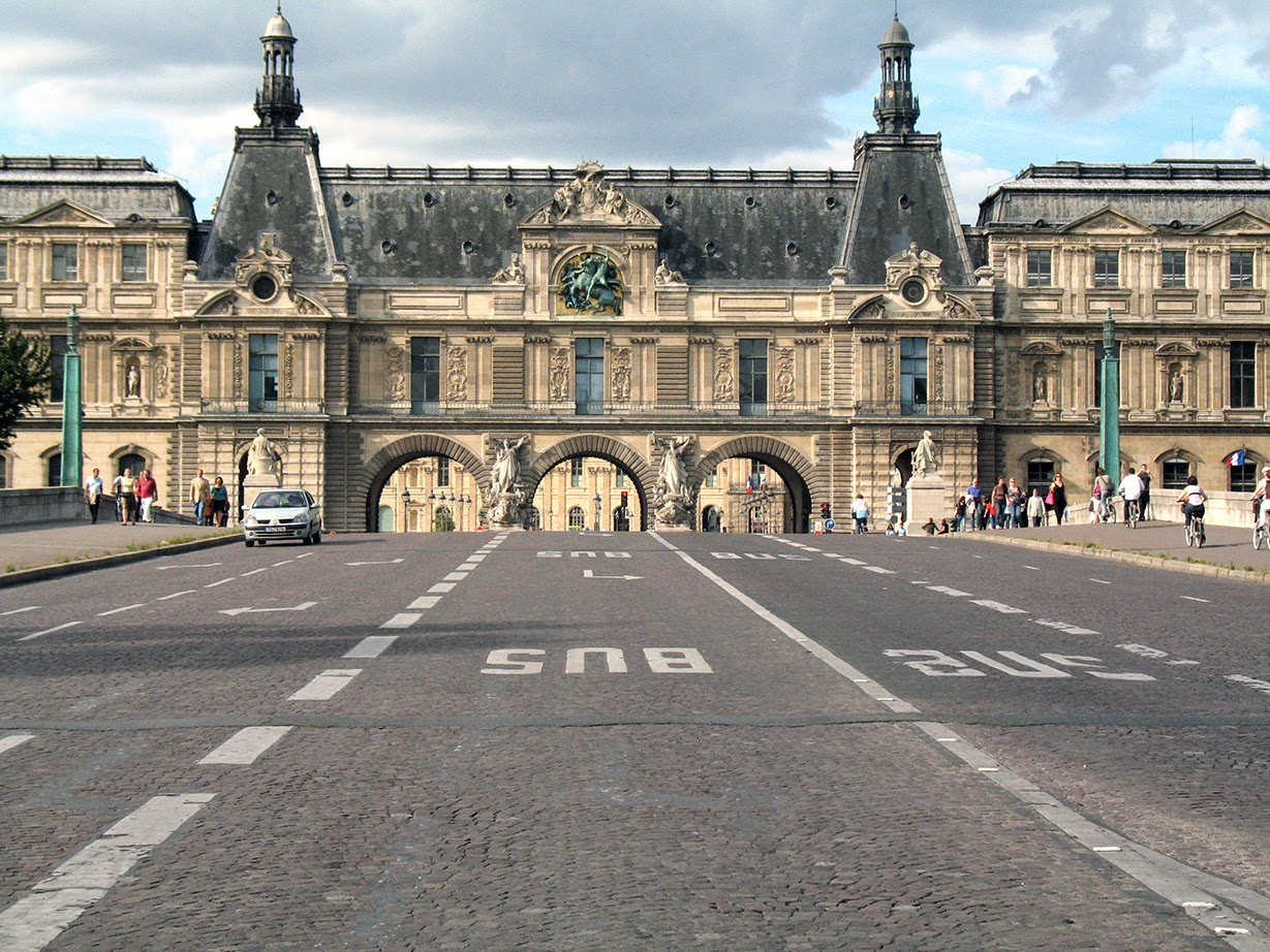view at one side of the Louvre