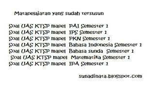 Soal Lengkap UAS KTSP Kelas 1'2'3'4'5 dan 6 Semester 1 TP. 2015 - 2016