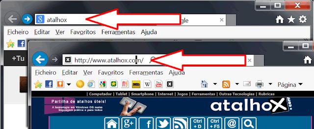 O atalho que completa o www e a extensão .com na barra de endereços do browser