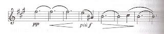 9/4-fis, Halbe e, ¼-Ais, 5/4-H, ¼-cis, 6/4-H, an- und abschwellend
