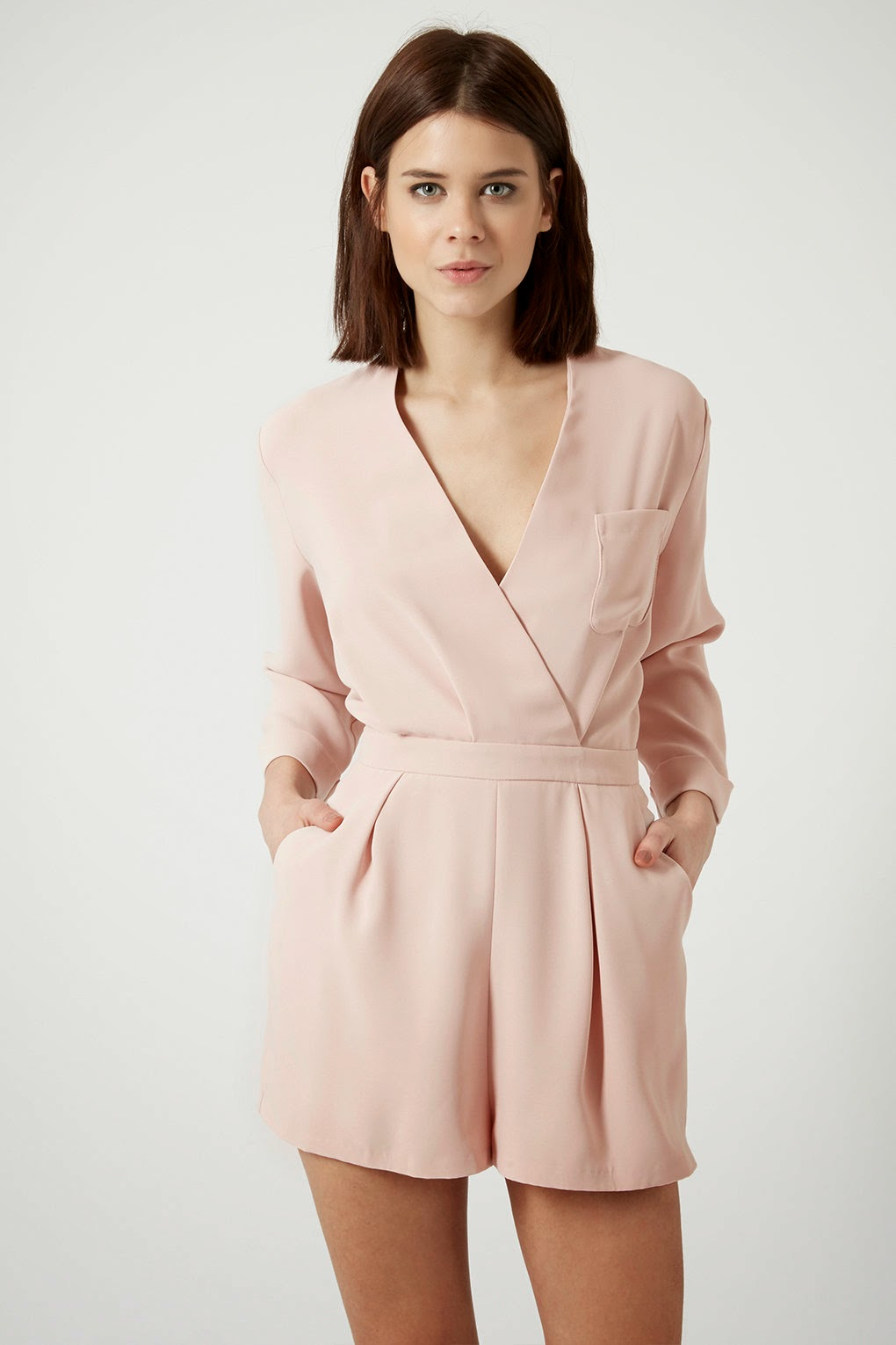 topshop pink playsuit, pastel pink playsuit, light pink playsuit, long sleeve playsuit,