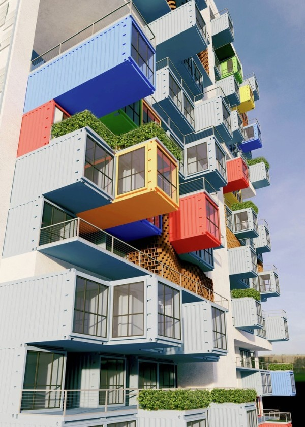 06-Partial-Elevation-Ganti-and-Associates-Architecture-Recycled-Container-Skyscraper-Homes-www-designstack-co