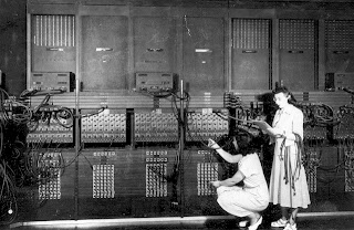 Women programming an Eniac computer.