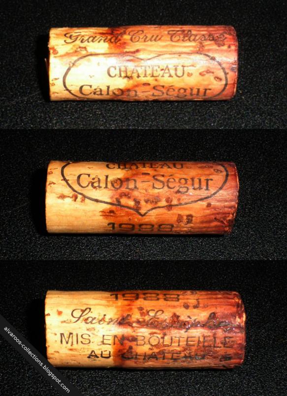Destroyed wine cork: Chateau Calon-Segur (Saint-Estephe) 1988