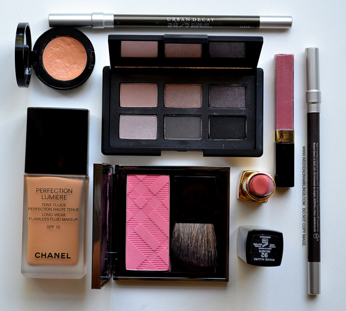 Easy Everyday Makeup Look How To NARS Fairys Kiss Eyeshadow Palette Chanel Lipstick Secrete Glossimer Wild Rose Urban Decay eyeliner Stash Demolition Burberry Coral Pink blush