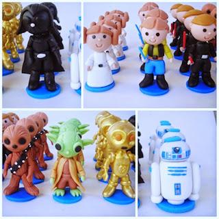 Darth Vader, Princesa Leia, Han Solo, Anakin, Chubaka, Mestre Yoda, C3PO e R2-D2