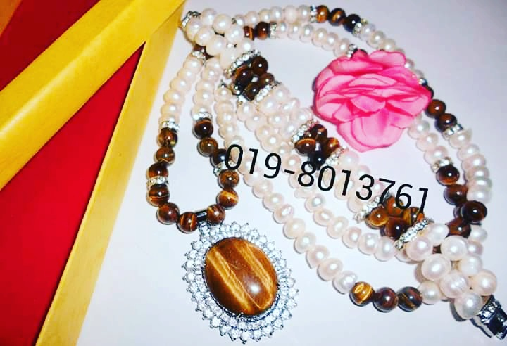 Set Rantai Mutiara mix Batu Tiger eyes