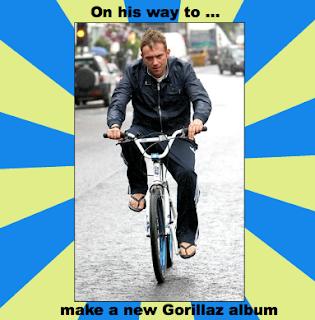 new gorillaz, gorillaz album 2012, damon albarn bike, gorillaz news 2012, gorillaz damon albarn, gorillaz funny, meme gorillaz