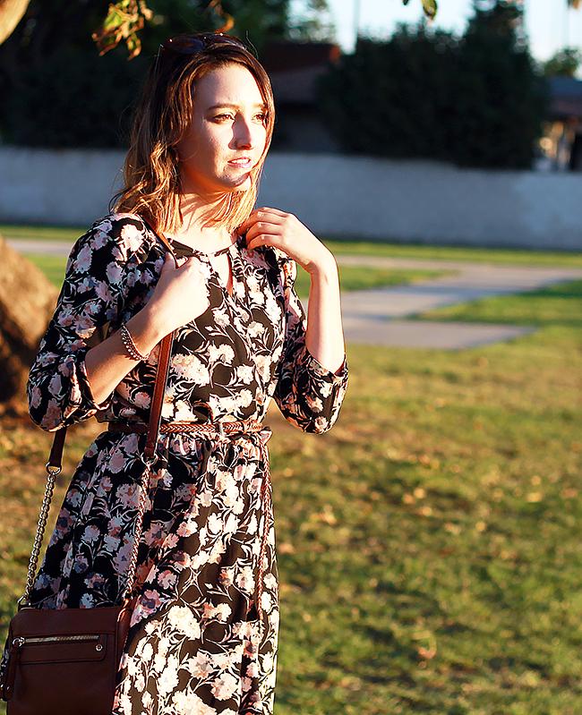 Dark Floral Skater Dress