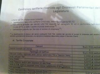 Le condizioni tariffarie telefoniche riservate ai parlamentari