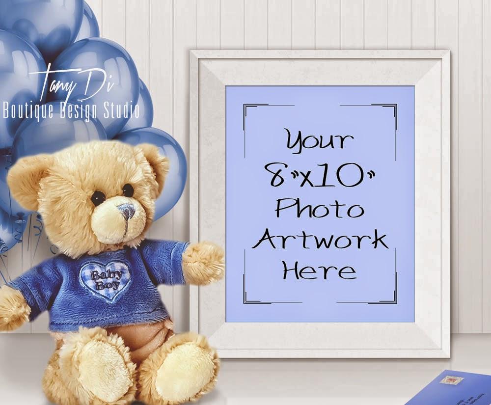 8x10 Portrait White Frame Mock-up | Baby Boy Teddy Bear | Etsy shop ...