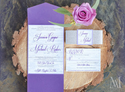 Lavender and Silver Rustic Tahoe Wedding Invitations by The Stylish Scribe l Marie Adair Photography, Take the Cake Event Planning, West Shore Cafe