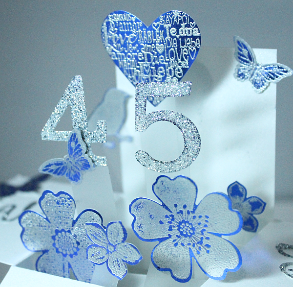 45th Wedding Anniversary Gift Ideas Uk : The numbers are cut using Bigz Typset Alphabet and Glimmer Paper and ...