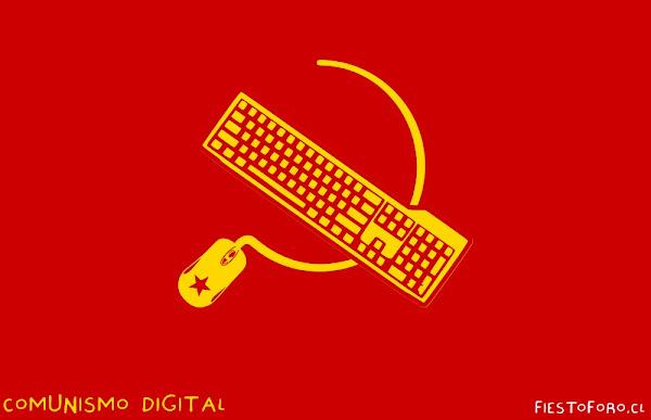 Bandera comunista hecha con mouse y teclado, en lugar de hoz y martillo.