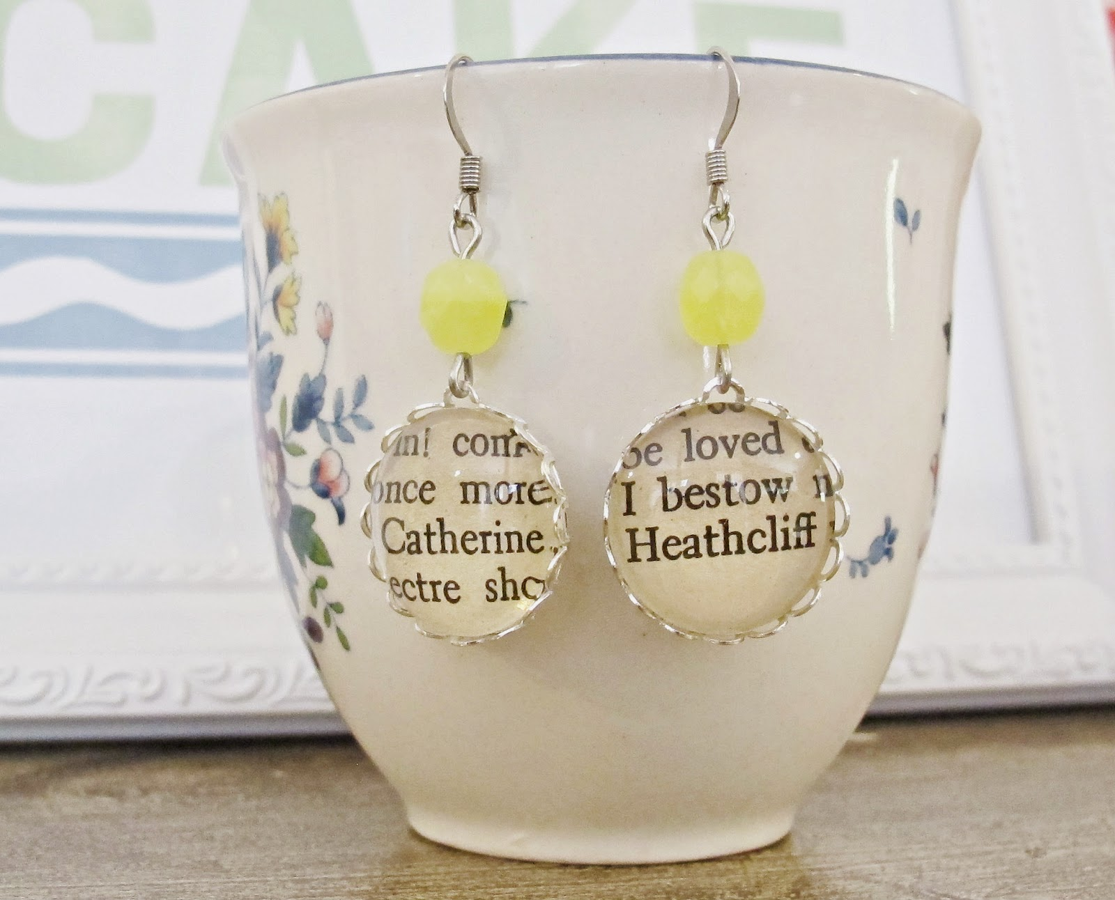 image earrings jewellery jewelry wuthering heights catherine earnshaw heathcliff romance love bronte two cheeky monkeys yellow literature