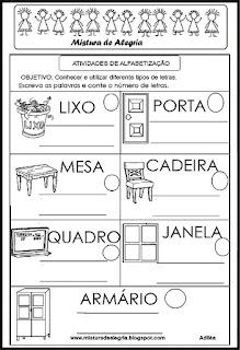 Atividade de volta às aulas-nomes dos objetos