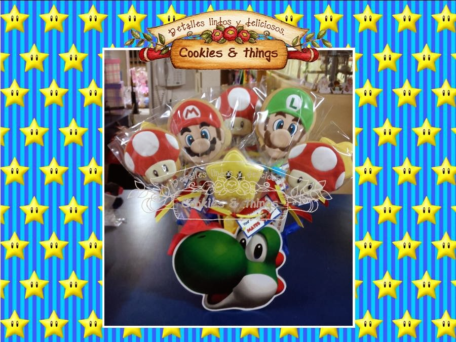 Mario Bros centro de mesa con galletas