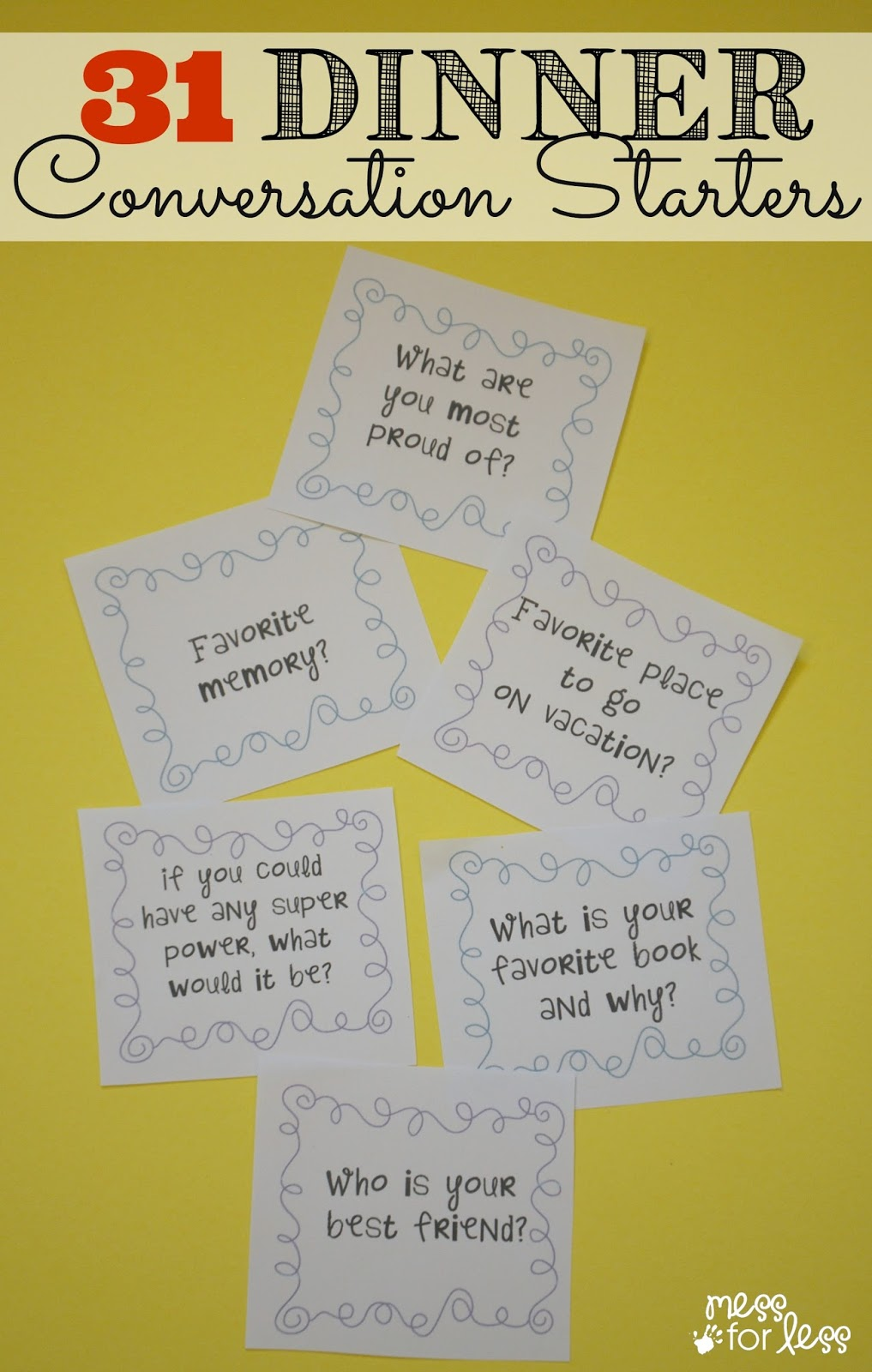 conversation starters Conversation starters use our conversations starters to open the door to discussions with your child or your husband once you get them talking, their answers will take your conversations to a whole new, loving level.