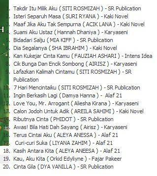 20 Novel Terlaris Carta Popular Bulan Mei 2012 (7 Mei 2012 - 13 Mei