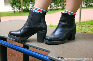 H&M black boots, chunky heels, tough looking, funky socks