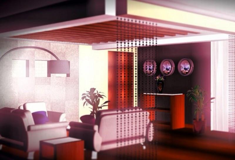Dise o interior de departamento separador de espacios for Plafones decorativos pared