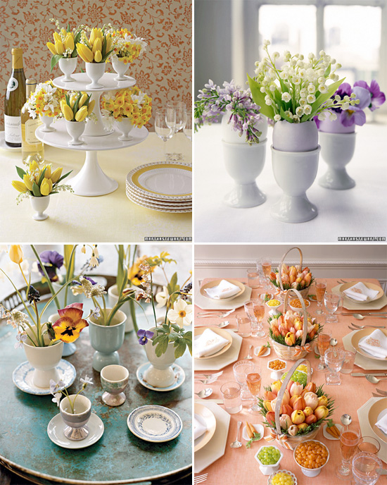 Read more ideas to jump-start your spring table decor. To create a dramatic and colorful spring centerpiece, place yellow tulips in a simple vase, and anchor the blooms with lime slices. If you have a long table, arrange a few of these down the center.