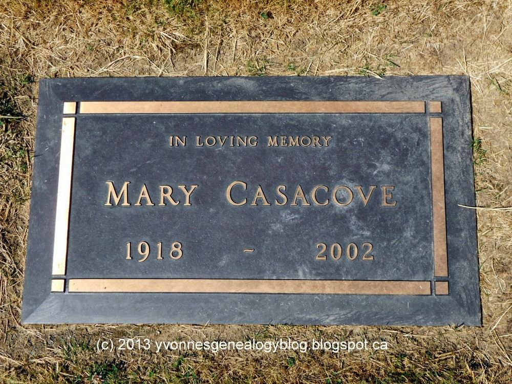 Gravemarker of Mary Casacove