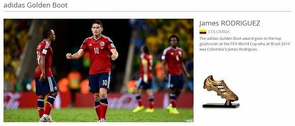 Anugerah Penjaring Terbanyak Kejohanan - Piala Dunia FIFA 2014
