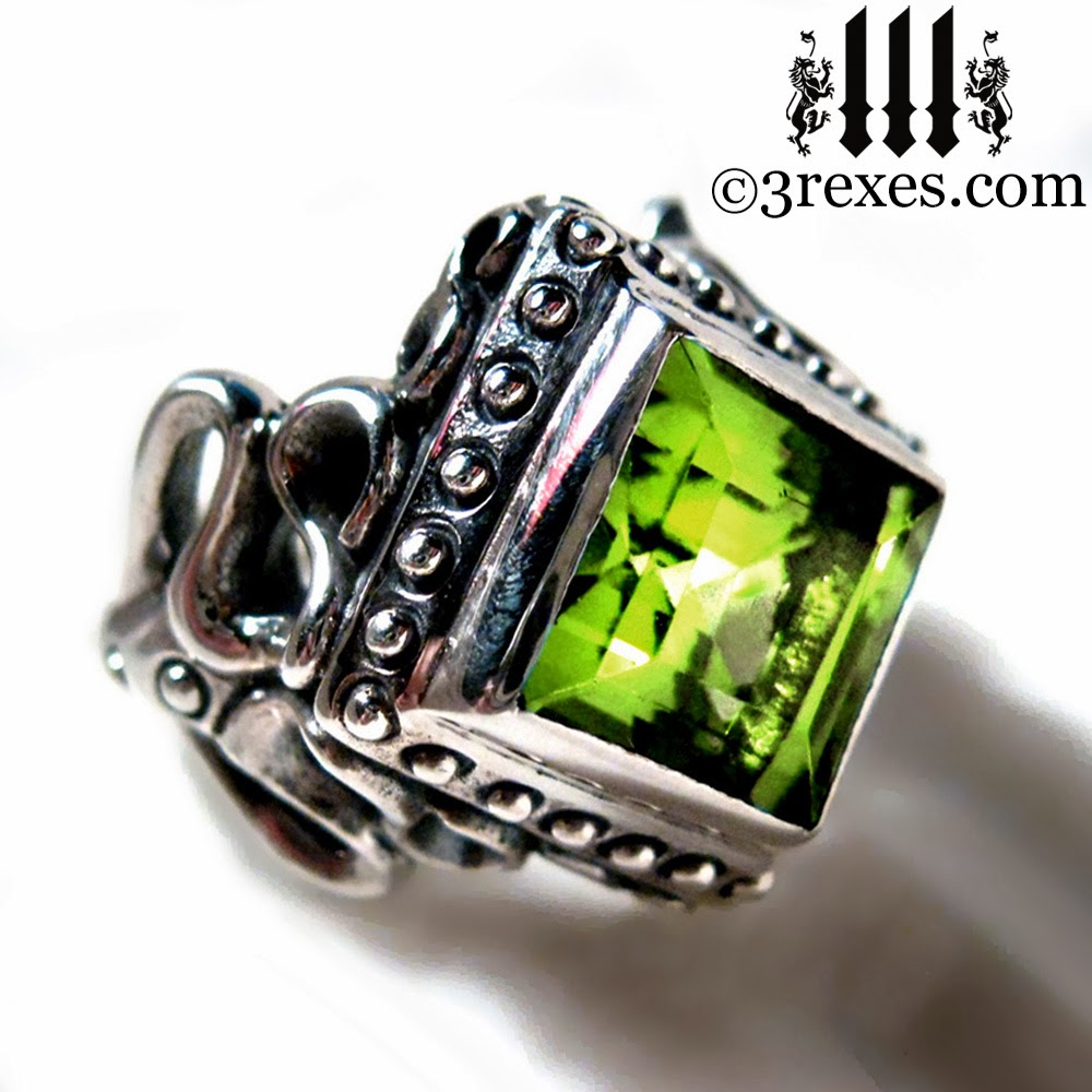 Raven Love Silver Gothic Wedding Ring With Green Peridot