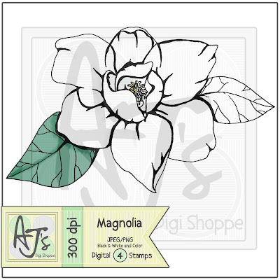 Magnolia, Digital Stamp, Flower