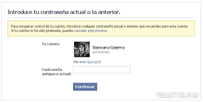 Recuperar contraseña Facebook