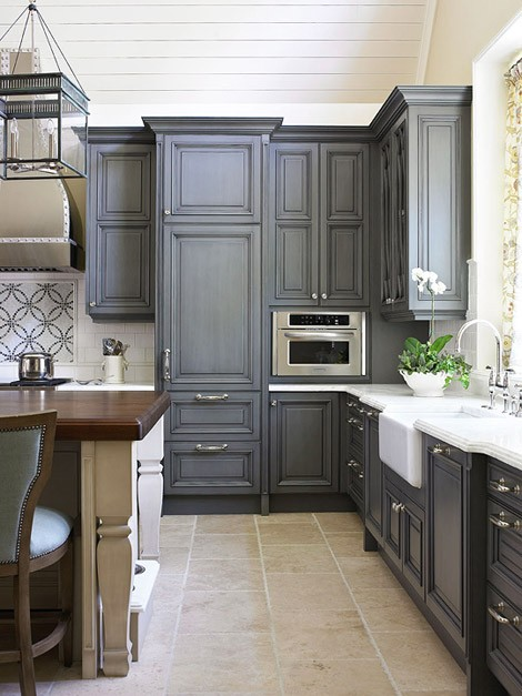 Uptown Country Gray Kitchen Cabinets