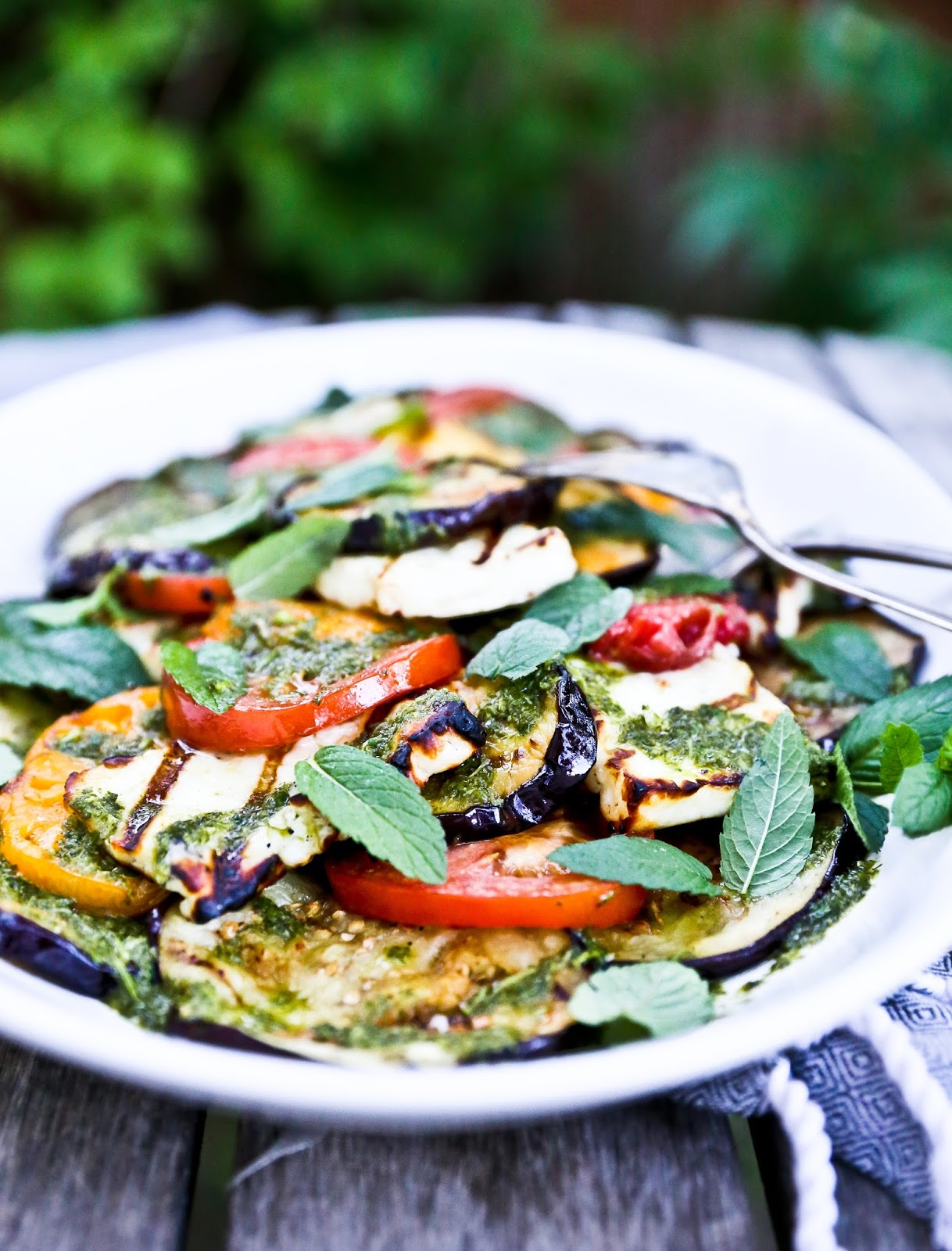 Grilled Halloumi and Eggplant Salad with Mint Dressing